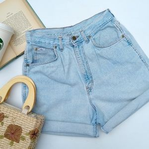 Vintage Chic • high rise faded jean cuffed shorts